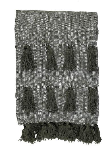 Olive Green Multi Tassle Woven Cotton Throw Blanket