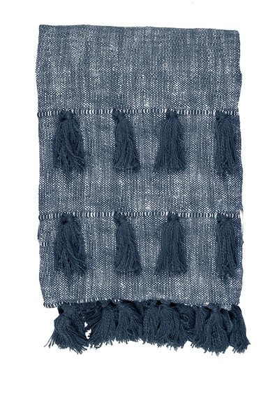 Blue Multi Tassle Woven Cotton Throw Blanket