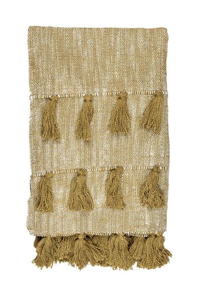 Golden Mustard Multi Tassle Woven Cotton Throw Blanket