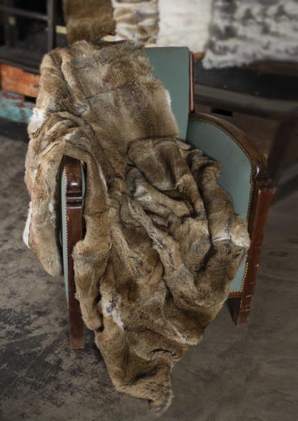 "2"" x 50"" x 60"" 100 Natural Rabbit Fur Hazelnut Throw Blanket"