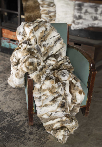 "2"" x 50"" x 60"" 100% Natural Rabbit Fur Tan and White Throw Blanket"