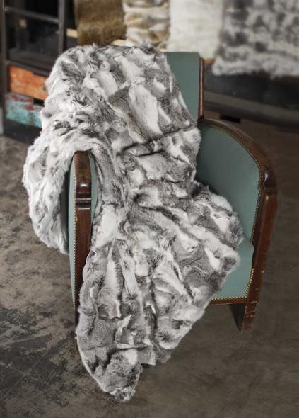 "2"" x 50"" x 60"" 100% Natural Rabbit Fur Grey Throw Blanket"