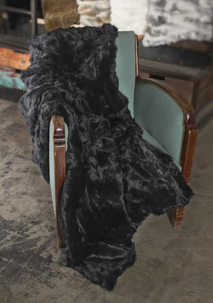"2"" x 50"" x 60"" 100 Natural Rabbit Fur Black Throw Blanket"