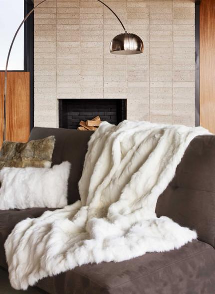 "2"" x 50"" x 60"" 100 Natural Rabbit Fur White Throw Blanket"