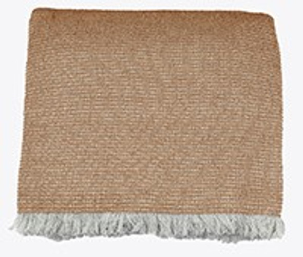 Soft Oatmeal Brown Cotton Chambray Waffle Weave Throw Blanket