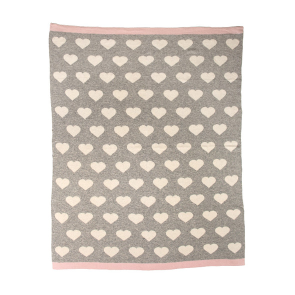 Grey and Ivory Hearts Knitted Baby Blanket