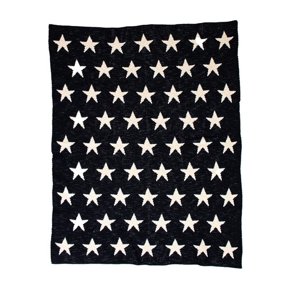 Navy Blue and White Stars Knitted Baby Blanket