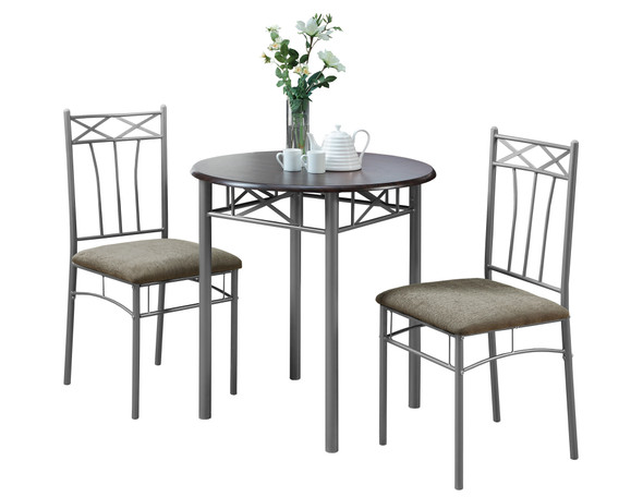 """64"""" x 64"""" x 102"""" CappuccinowithSilver Metal 3pcs Dining Set"""