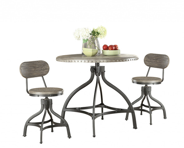 """36"""" X 36"""" X 36"""" 3pc Pack Gray Oak Adjustable Counter Height Dining Set - 286239"""