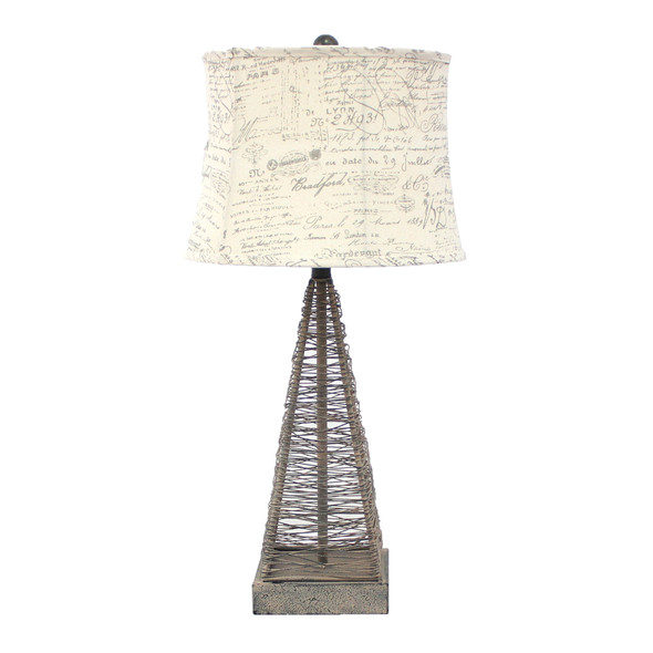 """15"""" x 13"""" x 28.5"""" Tan, Industrial Metal With Gentle Linen Shade - Table Lamp"""