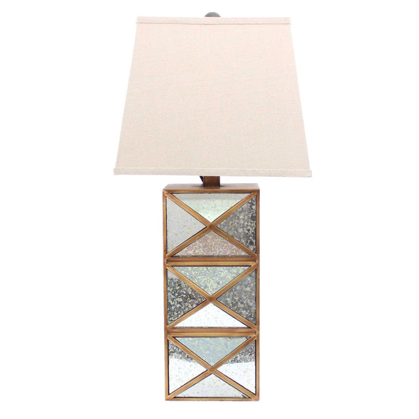 """6.25"""" x 6.75"""" x 27.5"""" Gold, Modern Illusionary, Mirrored Base - Table Lamp"""