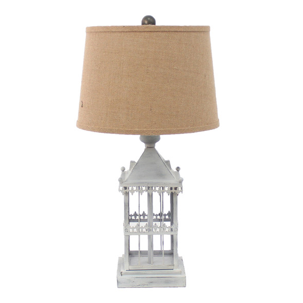 """15"""" x 12"""" x 25.75"""" Gray, Country Cottage, Castle - Table Lamp"""