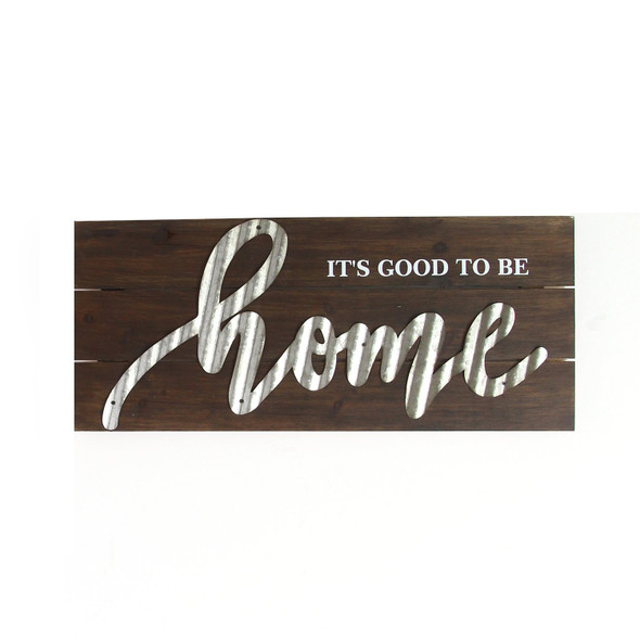 """""""It's Good To Be Home"""" Wood and Metal Wall Decor"""