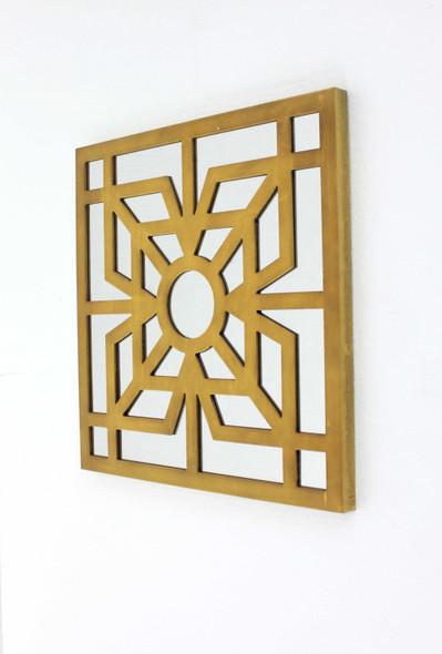 "1.25"" x 23.25"" x 23.25"" Bright Gold Mirrored Wooden Wall Decor"