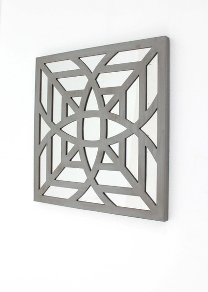 "1.25"" x 23.25"" x 23.25"" Gray Mirrored Square Wooden Wall Decor"