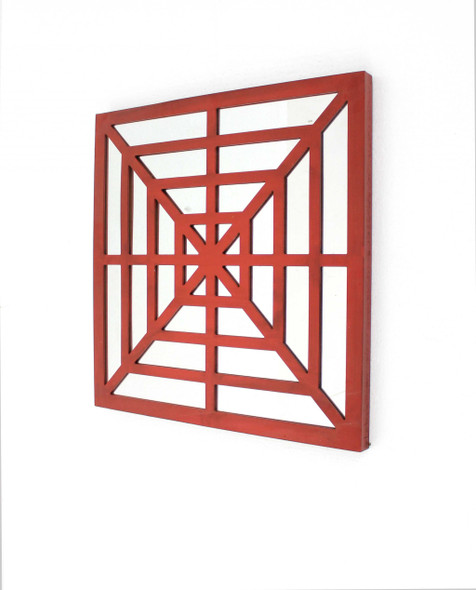 """1.25"""" x 23.25"""" x 23.25"""" Red Mirrored Wooden Wall Decor"""