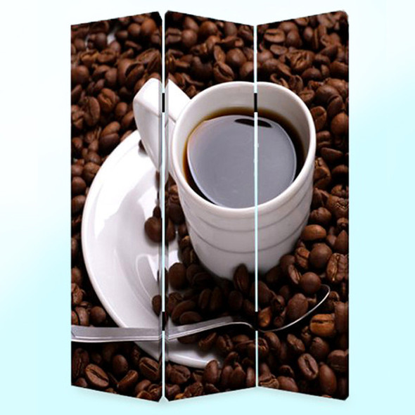 """1"""" x 48"""" x 72"""" Multi Color Wood Canvas Coffee Time Screen"""