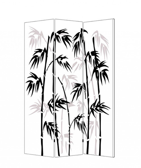 """1"""" x 48"""" x 72"""" Multi Color Wood Canvas Bamboo Leaf Screen"""