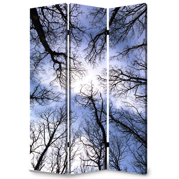 """1"""" x 48"""" x 72"""" Multi Color Wood Canvas Forest Screen"""