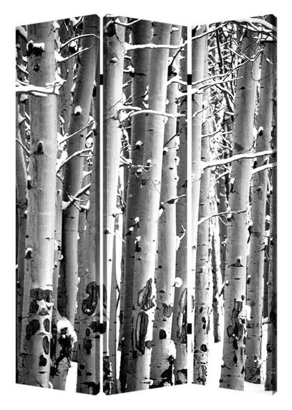 "1"" x 48"" x 72"" Multi Color Wood Canvas Birch Screen"