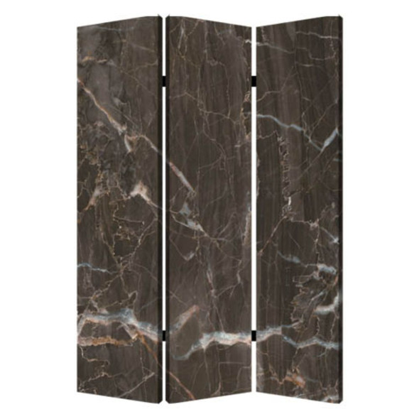 """1"""" x 48"""" x 72"""" Multi Color Wood Canvas Black Marble Screen"""