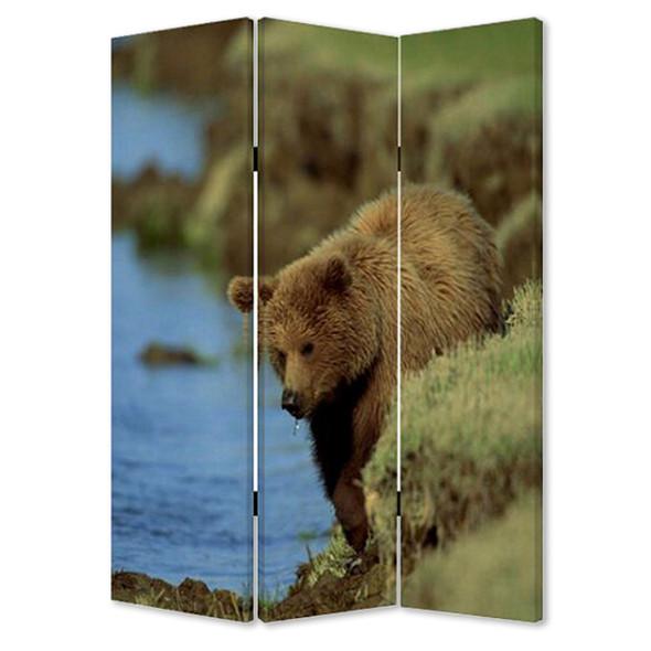 "1"" x 48"" x 72"" Multi Color Wood Canvas Bear Screen"