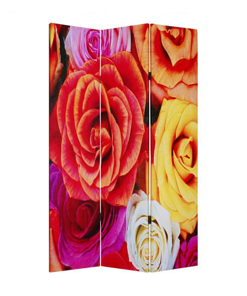 """1"""" x 48"""" x 72"""" Multi Color Wood Canvas Daisy And Rose Screen"""