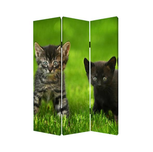 "1"" x 48"" x 72"" Multi Color Wood Canvas Curious Cat Screen"