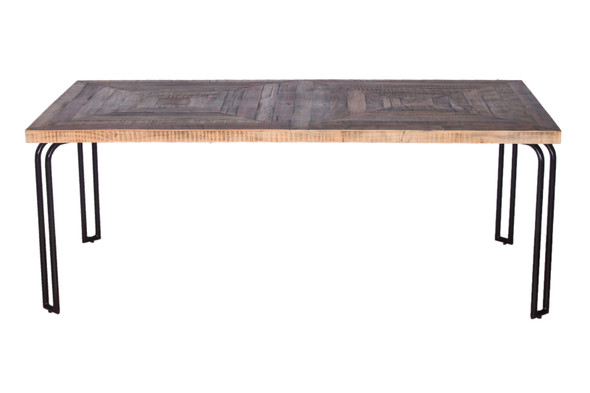 Natural Black 6 Wood 3 Iron Large Dining Table