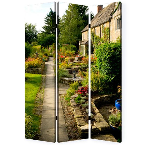 "1"" x 48"" x 72"" Multi Color Wood Canvas English Garden Screen"