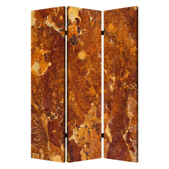"""1"""" x 48"""" x 72"""" Multi Color Wood Canvas Brown Marble Screen"""