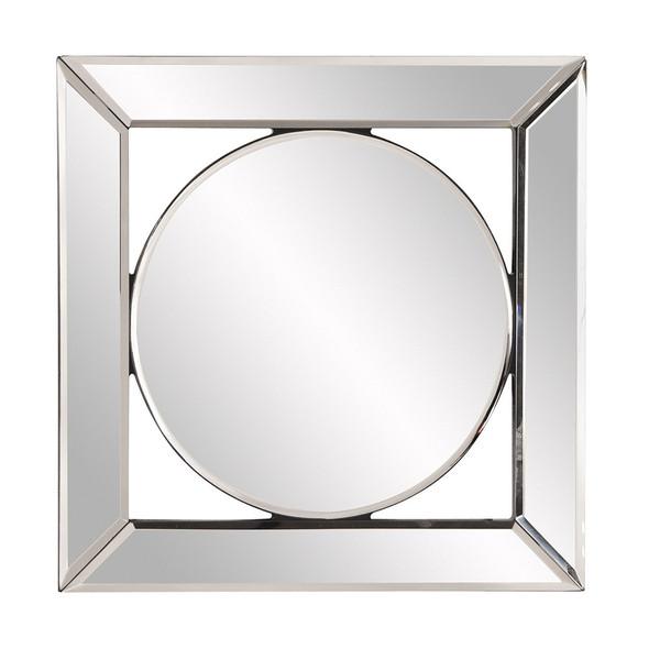 Square Mirror with Center Round Mirror