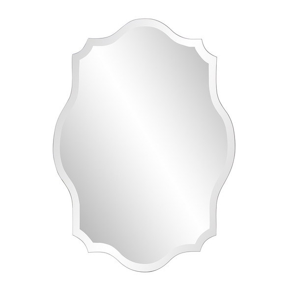 Minimalist Rectangle Mirror with Scalloped Corners and Curved Edges