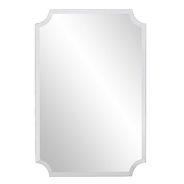 Minimalist Rectangle Mirror with Beveled Edge And Scalloped Corners