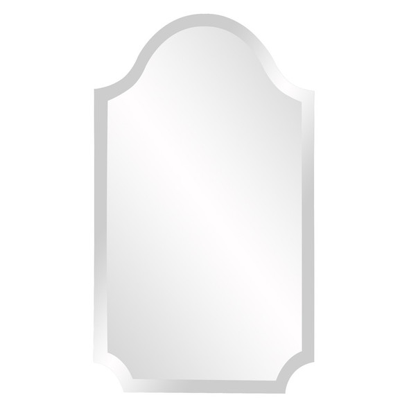 Minimalist Rectangle Arched Glass Mirror with Beveled Edge And Scalloped Corners