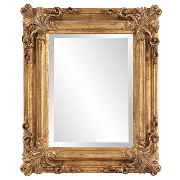 Rectangular Gold Leaf Mirror with Scrolling Flourish
