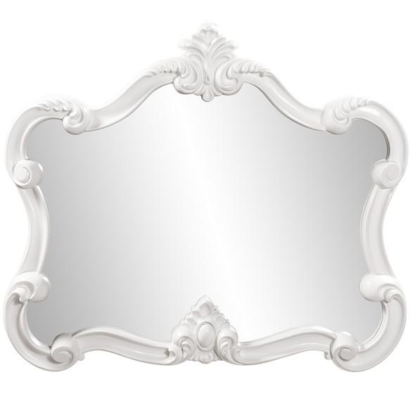 White Baroque Shape Ornate Mirror