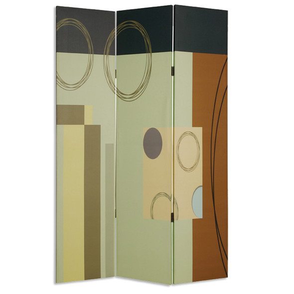 """1"""" x 48"""" x 72"""" Multi Color Wood Canvas 3 Panel Screen - 274753"""