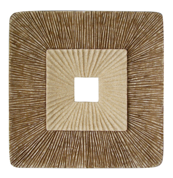 """1"""" x 14"""" x 14"""" Brown Concave Square Double Layer Ribbed Wall Plaque Set of 2"""