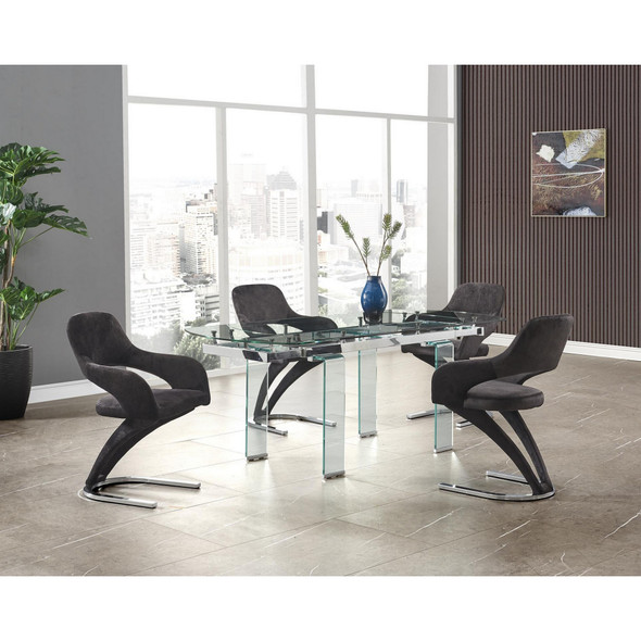 Clear Glass Leg Dining Table with Chrome Support for Glass Top