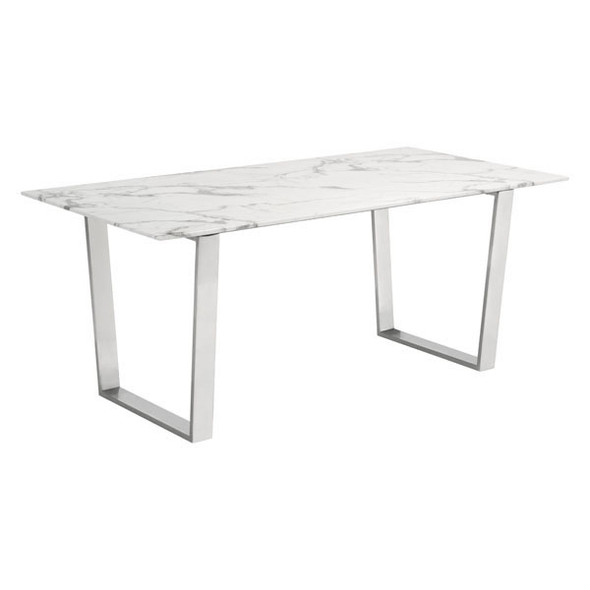 """70.9"""" X 35.4"""" X 29.7"""" Stone And Brushed Atlas White Dining Table"""