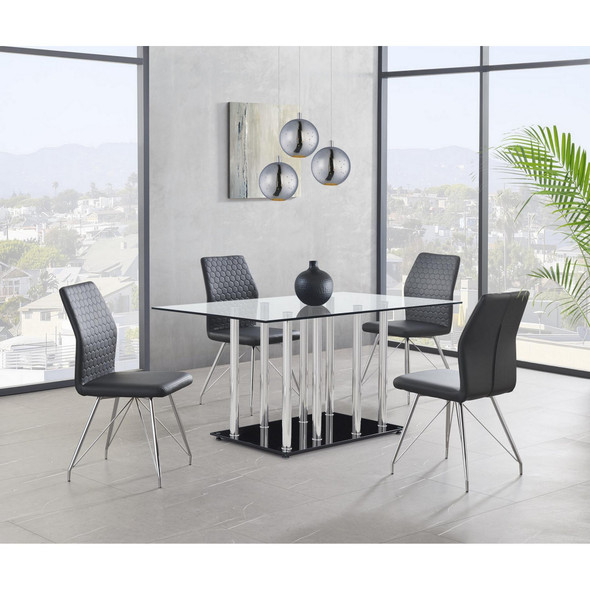 Black Glossy Base and Chrome Metal Legs with Rectangular Glass Top Dining Table