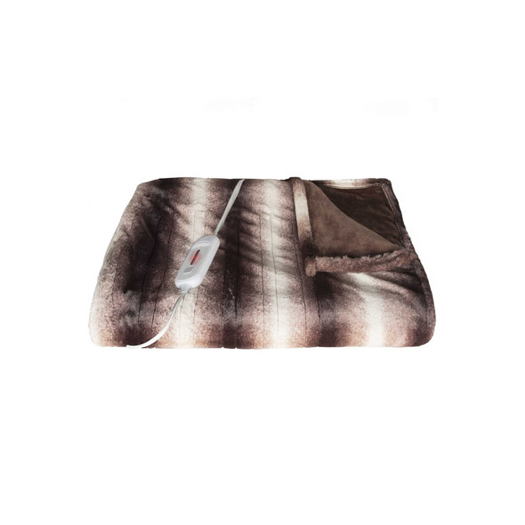 """50"""" x 60"""" Brown and White Modern Contemporary Heated Throw Blankets"""