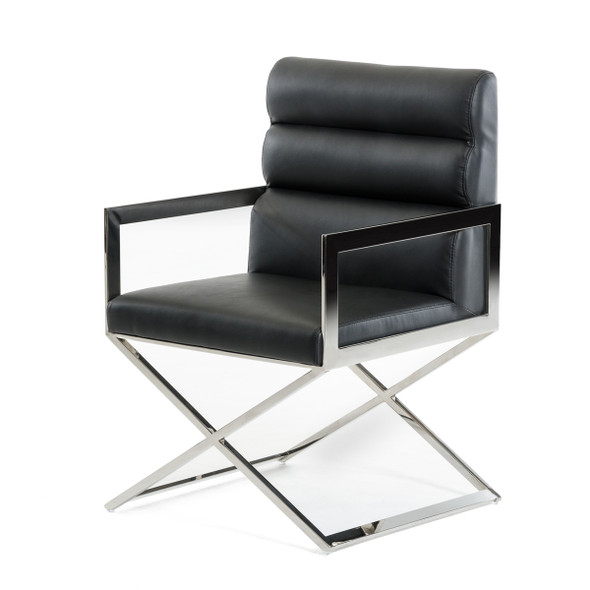 """24"""" Black Leatherette and Stainless Steel Dining Chair"""