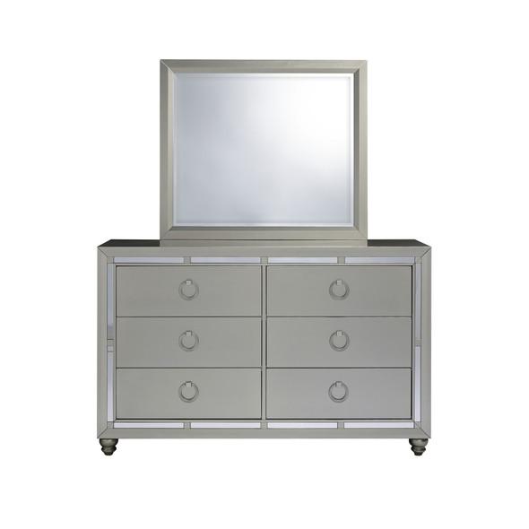 Modern Silver Tone Mirror with Sleek Wood Trim