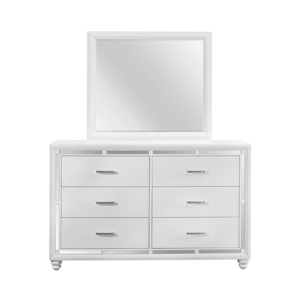 White Toned Mirror with Large Rectangular High Gloss Trim