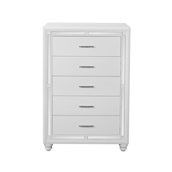 White Chest with Mirror Trim Accent 5 Drawers