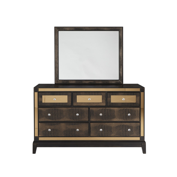 Chocolate Dresser with 7 Drawer Mirrored Accent