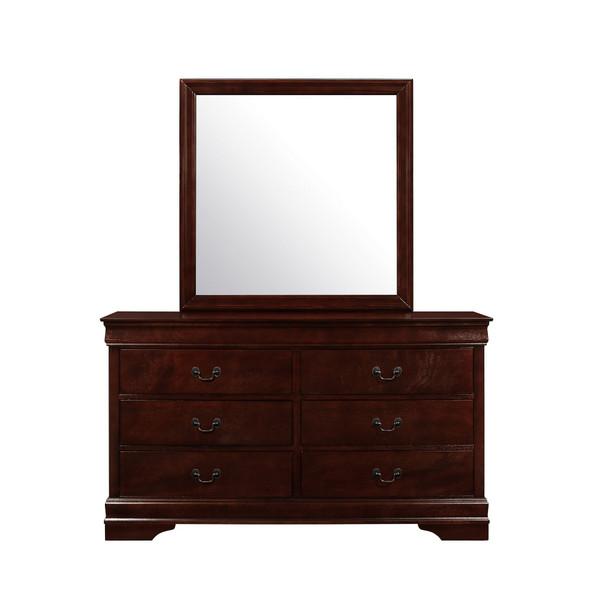Modern Merlot Toned Mirror with Sleek Wood Trim