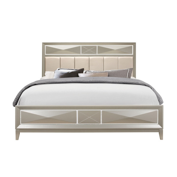 Modern Champagne King Bed with Satin Upholstered Headboard Mirror Accents